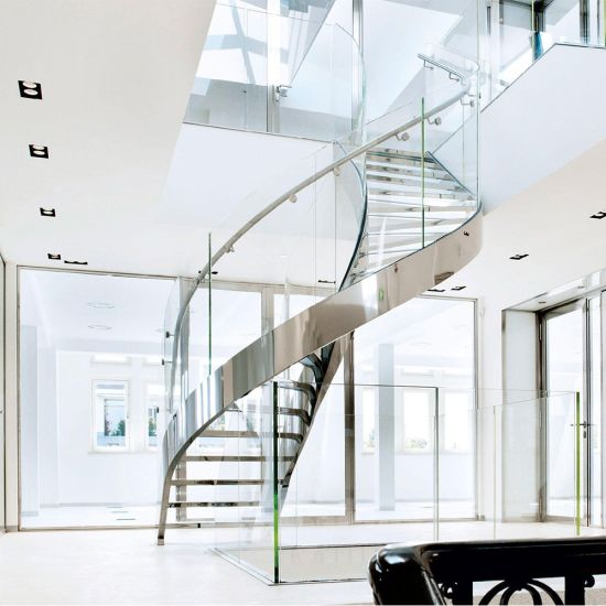 Stainless Steel Curved Staircase With Wood Treads And Glass Railing