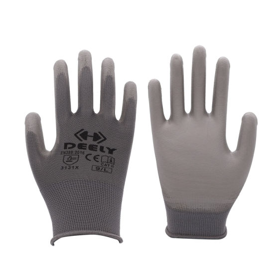 General Purpose Hand Work Safety Gloves PU Coated in Grey