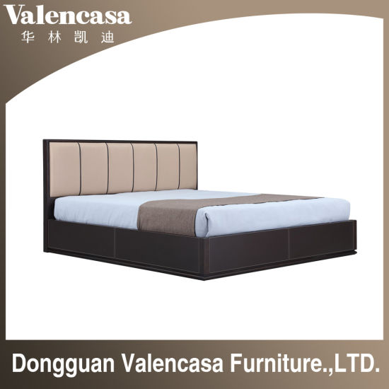 Real Leather Solid Wood Bedhead Kind Bed Queen Bed for Bedroom