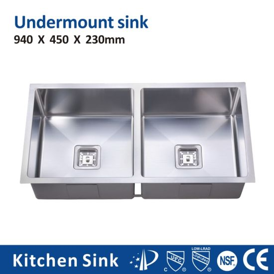 China R10 1 2 3mm Large Commercial Used Single Double Hole Tank SUS304 Ss201 Solid Surface Sink Undermount for Free Standing Handmade Silver Kitchen Sink
