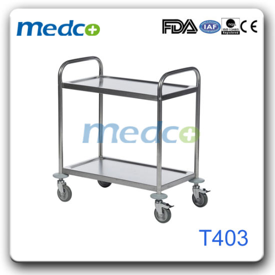 S. S Medical Utility Equipment Cart with 2 Layers, Hospital Instrument Nursing Trolley