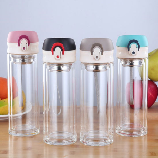 Newest Popular High Borosilicate Glass Water Bottle with Bounce Lid