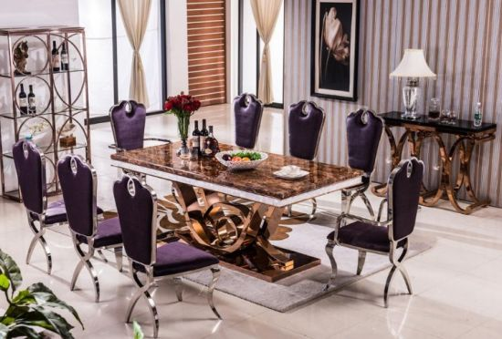 Great Wholesale Luxury Dining Chair / Marble Dining Table And Chair Velvet Fabric