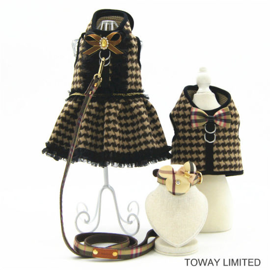Royal Grid Dog Clothes with Leash Pet Dress with Harness