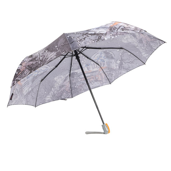 Custom High Grade Auto Open and Closed Rain Umbrella 3 Folding 9 Ribs Windproof Umbrella with Printing Fashion Starry Sky Picture (YZ-19-39)
