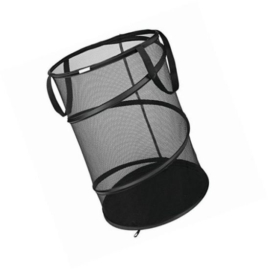 Black Foldable Spiral Pop up Black Clothes Mesh Laundry Hamper pictures & photos