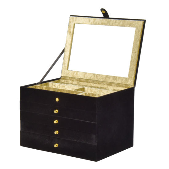 Luxury Black Large Leather Jewelry Packaging Storage Display Box (8843) pictures & photos