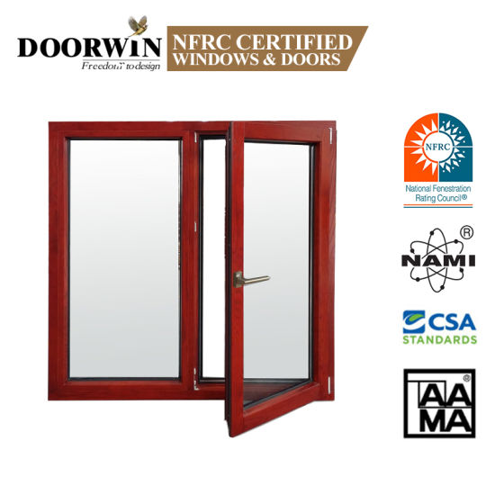 Customizable Composite Double Glass/Glazed Hurrican Eimpac Wood Aluminium/Aluminum Casement/ Awning/Sliding Louve Tilt&Turn Window with Aama/Nfrc Certificate
