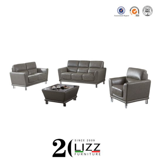 Wholesale Home furniture Living Room Genuine Leather Sofa with Metal Leg