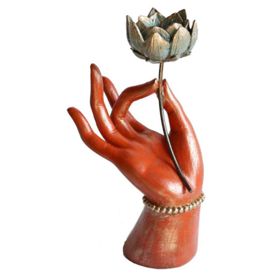 Custom Made Red Home Decoration Lotus Resin Buddha Hand Statue for Sale