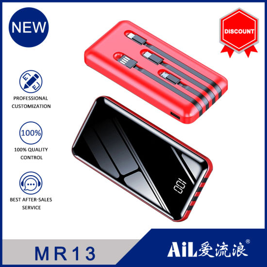 4 in 1 Cable Mirror Power Bank for All Mobile Phone Use