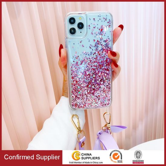 Girls Moving Liquid Holographic Glitter Case Lanyard Strap Liquid Case New Arrival for iPhone 12