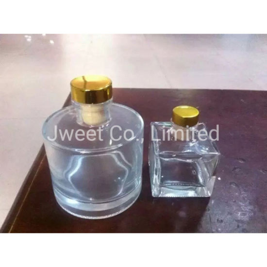 Square Clear Glass 50ml Whisky Liquor Glass Bottle with Rubber Stopper