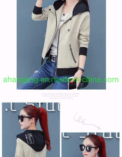 Women′s Loose Casual Hooded Jacket pictures & photos