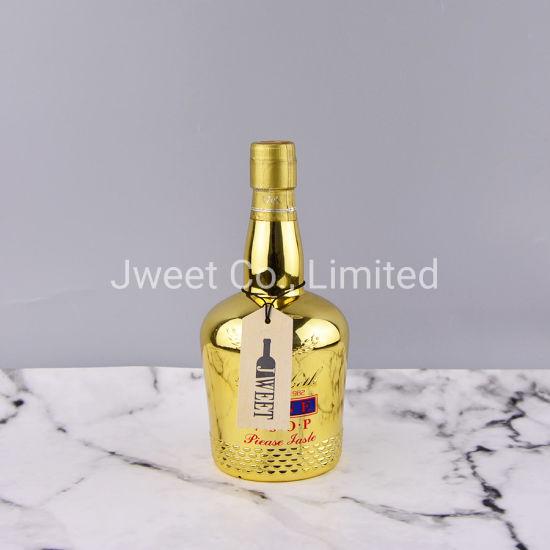 700ml Empty Square Gold Color Vodka Alcohol Spirits Liquor Whisky Glass Bottle