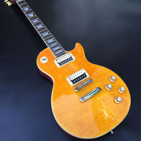 Cream Tuners Standard Electric Guitar, Solid Mahogany Body with Lemon Yellow Flamed Maple Top, Chrome Hardware