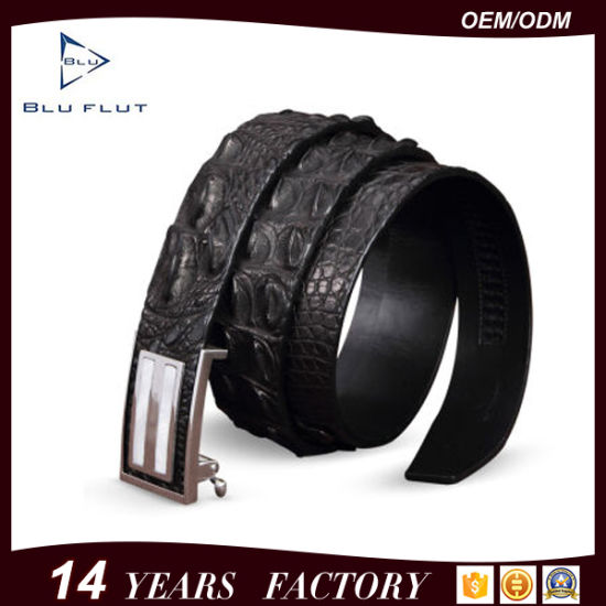 Fashion Business Genuine Crocodile Leather Men Metal Buckle Belts