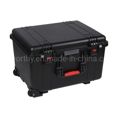 PP Plastic Waterproof Carrying Case Plastic Storage Box with Wheels