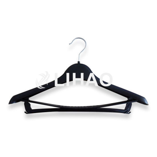 OEM Logo Black Plastic Hanger with Trousers Press Metal Hook pictures & photos