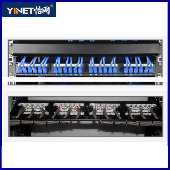 CAT6 UTP Patch Panel with 24ports 8 Pin 50u Gold Plating Keystone Jack pictures & photos