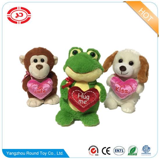 Valentines Day Puppy Standing Plush Soft Frog Custom Animal Toy