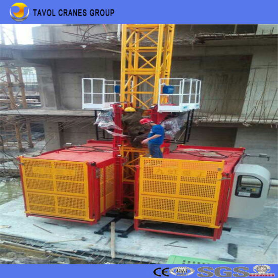 Double Cage Sc200/200 Galvanized Construction Elevator pictures & photos