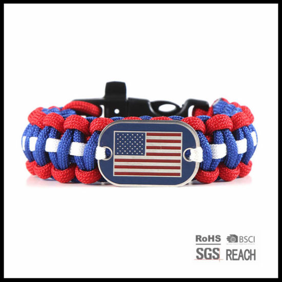 Custom Promotional Paracord 550 Survival Bracelet with ID Tag pictures & photos