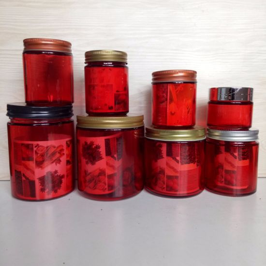 200ml 300ml 450ml 500ml 650ml Different Painting Color Glass Straight Food Jar with Lid pictures & photos