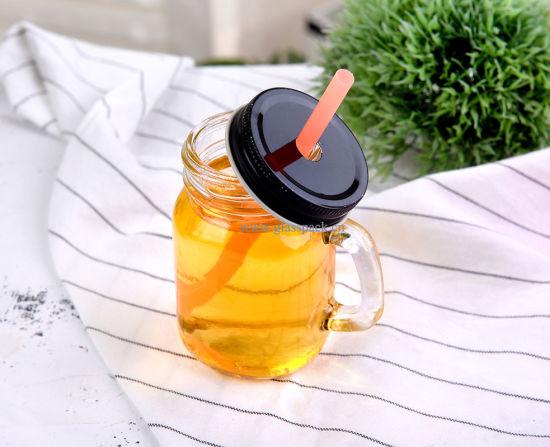 Flint Glass Mason Jar Mugs with Lid and Straw