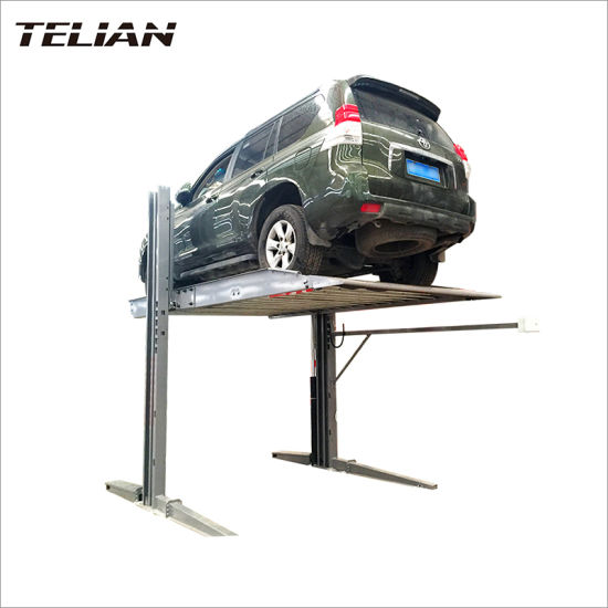 Two Cars Double Levels Single Hydraulic Cylinder Two Post Parking Lift