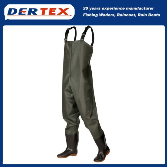 PVC For professional fishermen Chest Waders Standard Green