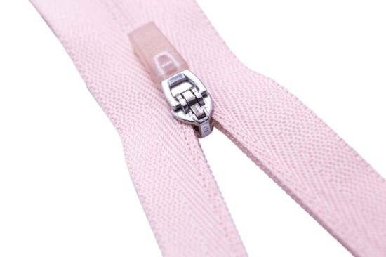 Nylon Zipper with Rubber Puller and Pink Color Tape/Top Quality