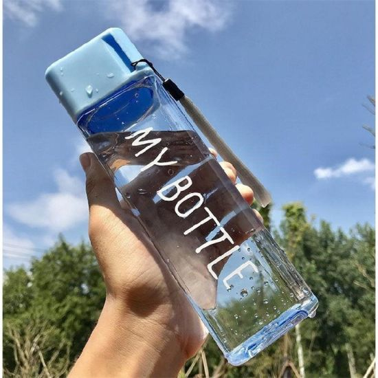 Wholesale Colorful Frosted Transparent Juice Plastic Water Bottle Square 500ml with Private Label