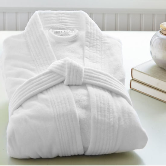 5 Star Hotel High Quality Cotton White Velvet Bathrobe