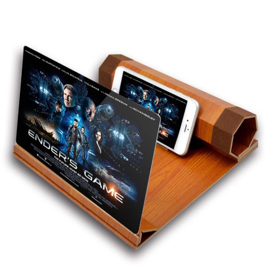 Portable HD Movie Amplifier 12 Inch Wooden Folding Mobile Phone Screen Amplifier 3D Magnifier