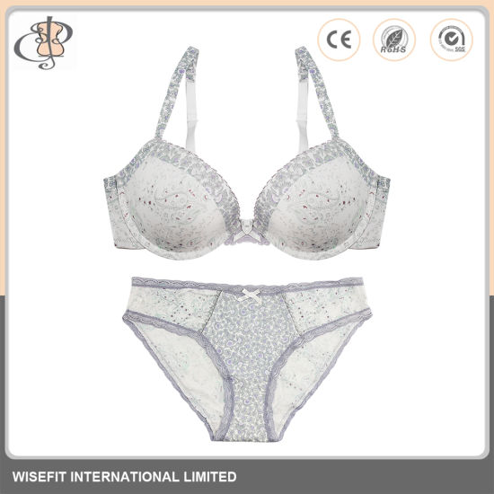 Women Underwear Lace Brassiere Push-up Bra Set pictures & photos