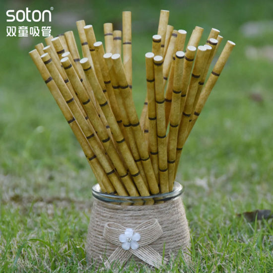 Party Disposable Biodegradable Yellow Bamboo Paper Straw