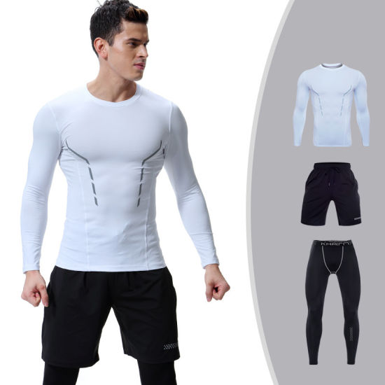 Men Compression Tights Running Fitness Workout Gym Suit Sportswear