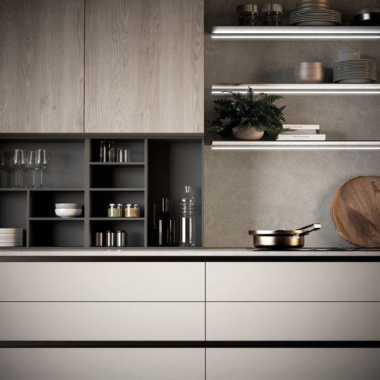 China Wood Grain Laminate And White Finish Color Mixed Kitchen Cabinet China Kitchen Cabinets Kitchen Furniture
