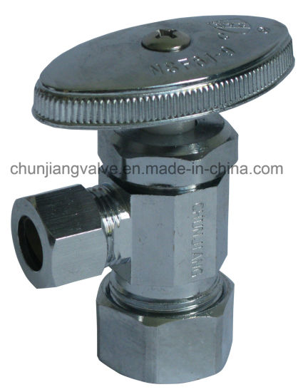 Hot Sale Brass Chrome Plating Angle Stop Valve with Compression Connection (J04) pictures & photos