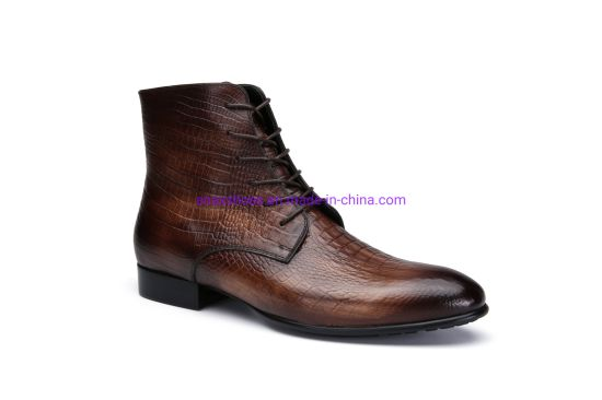 New Design and High Quality Popular Men's Lace-up Leather Business Comfortable and Breathable Boots Shoes