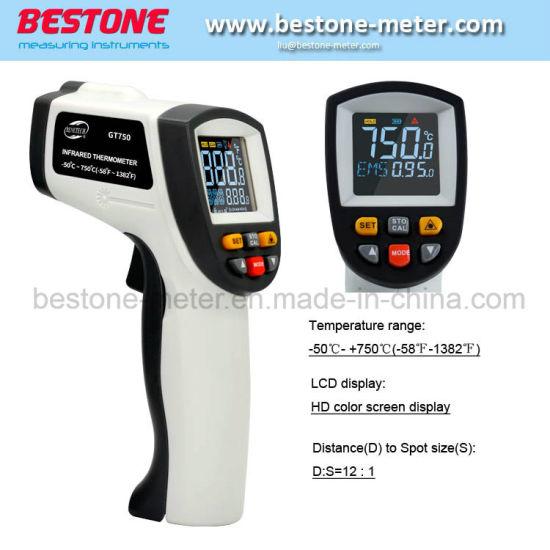 Color Screen Adjustable Emissivity Digital Infrared Thermometer Hygrometer Black