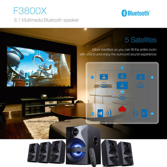 5.1 Surround Sound Home Theater TV Speaker with USB Bluetooth Remote Control LED pictures & photos