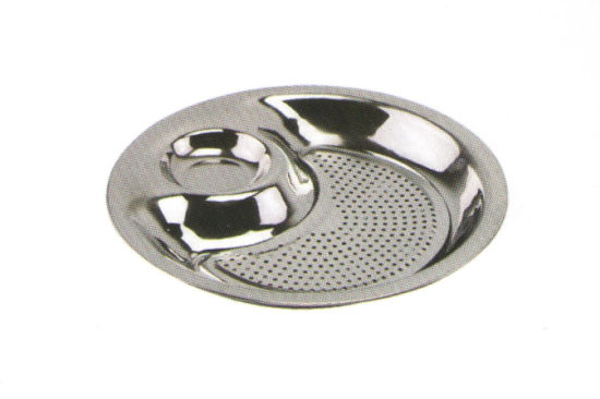 Stainless Steel Kitchenware Oval Tray in Round Design Service Tray for Steamed Dumpling Sp011