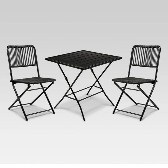 Amazing 3Pc Rope Woven Patio Folding Chairs And Table Bistro Folding Set Bralicious Painted Fabric Chair Ideas Braliciousco