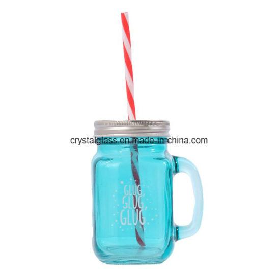 Blue Glass Mason Jar with Handle 500ml