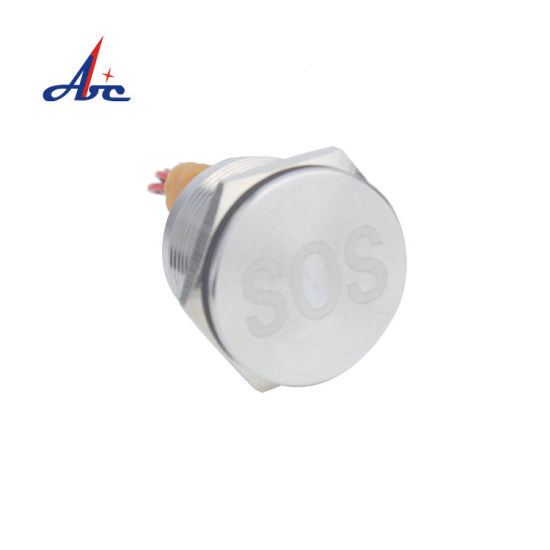 16mm Flat Head Momentary on Push Button Silver or Red Anodized Piezo Switch with Wire Lead