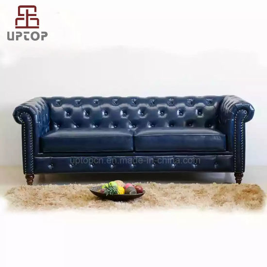 High End Luxury Living Room Sofa Leather Upholstered Chesterfield Sofa