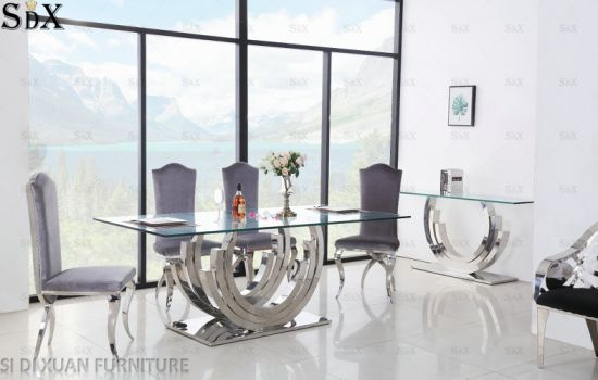 Modern Dining Room Furniture Glass Top Stainless Steel Dining Table