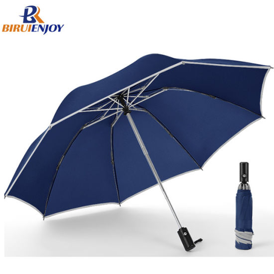 Wholesale Reverse Folding Umbrella Fully Auto Open/Close with Reflective Strip for Lighting in The Night